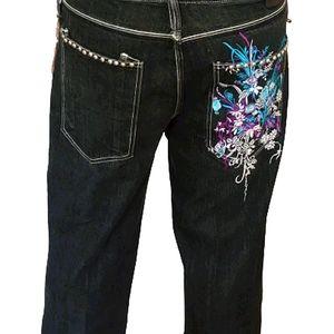ARTFUL DODGER 1816 Jeans 38 Black Embroidered